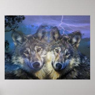 Lobos en la noche posters
