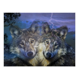 Lobos en la noche póster