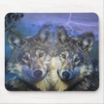 Lobos en la noche tapetes de raton