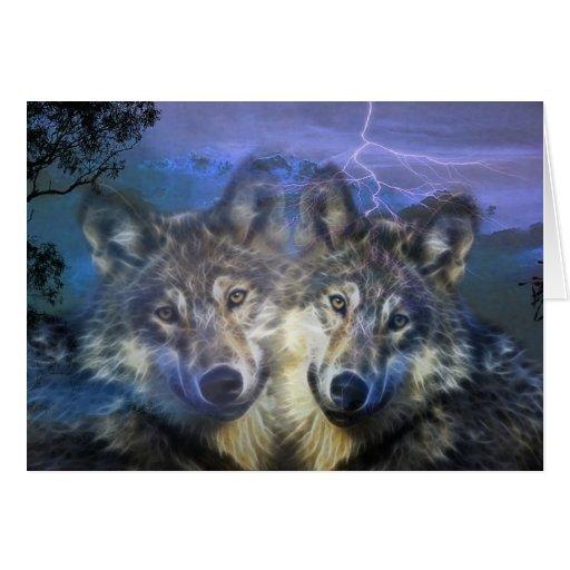 Lobos en la noche tarjeton
