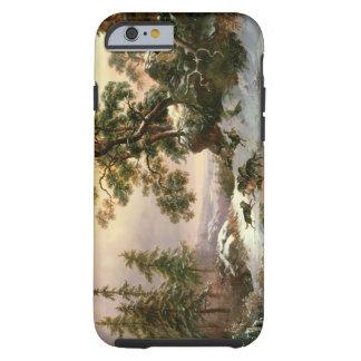 Lobos en un paisaje del invierno (aceite en el funda para iPhone 6 tough