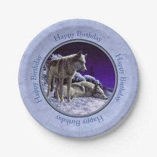 Lobos grises en azul de cielo del invierno plato de papel de 7 pulgadas