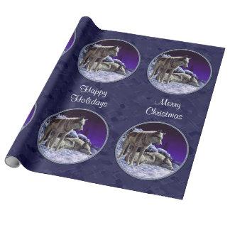 Lobos grises en azul de medianoche de la nieve papel de regalo