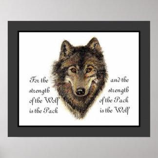 Lobos, lobo y cita del paquete, naturaleza de la a póster