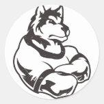 Lobos o mascota del lobo etiqueta redonda