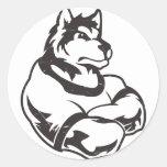 Lobos o mascota del lobo pegatina redonda
