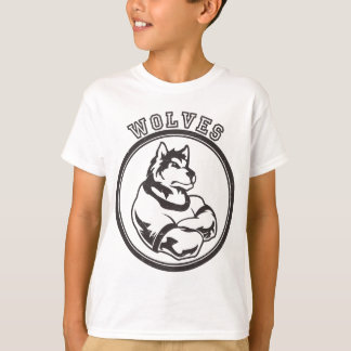 Lobos o mascota del lobo playera