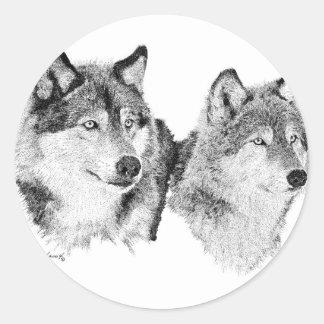 Lobos solitarios pegatina redonda