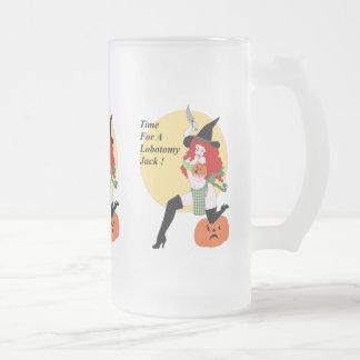 Lobotomy Pumpkin Frosted Glass Beer Mug