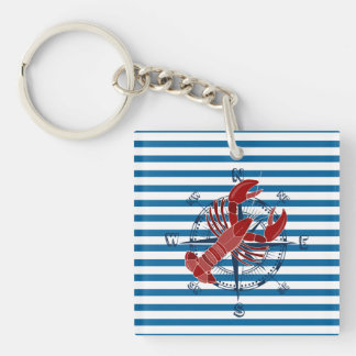 Lobster and Crab Blue and White Stripe Square Acrylic Keychain