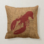 Lobster and Crab in Nautical Rustic Red Pillows