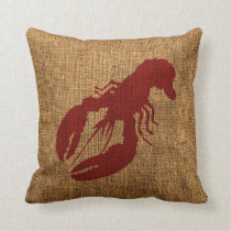 Lobster and Crab in Nautical Rustic Red Throw Pillow