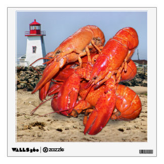 Lobster and Lighthouse Ocean Photograph Wall Graphic