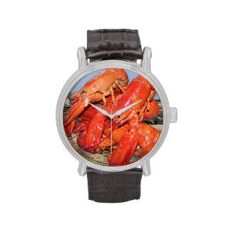 Lobster and Lighthouse Ocean Photograph Wristwatches
