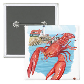 Lobster and Portland Lighthouse Scene 2 Inch Square Button