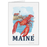 Lobster and Portland Lighthouse Scene Card