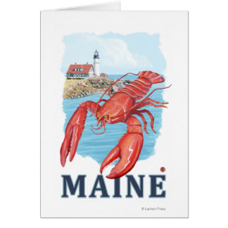 Lobster and Portland Lighthouse Scene Greeting Card