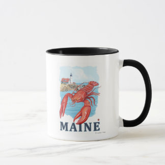 Lobster and Portland Lighthouse Scene Mug