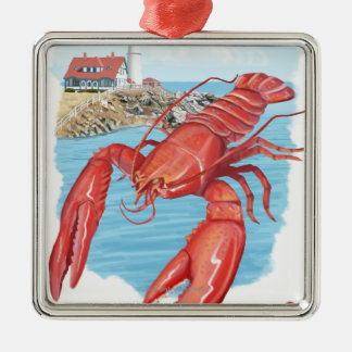 Lobster and Portland Lighthouse Scene Square Metal Christmas Ornament