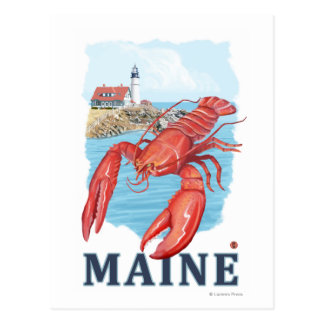 Lobster and Portland Lighthouse Scene Post Cards