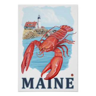 Lobster and Portland Lighthouse Scene Poster