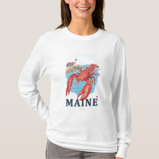 Lobster and Portland Lighthouse Scene T-Shirt