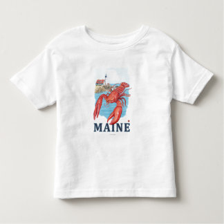 Lobster and Portland Lighthouse Scene Tee Shirts
