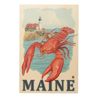Lobster and Portland Lighthouse Scene Wood Wall Art