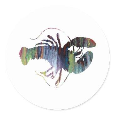 Beach Themed Lobster art classic round sticker