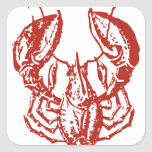 Lobster Art, King of Seafood Gifts Square Stickers