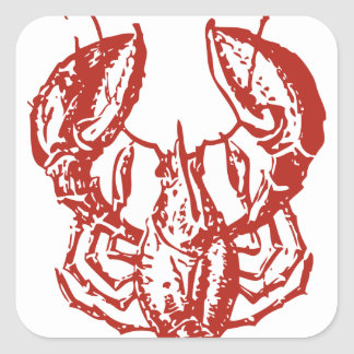 Lobster Art King of Seafood Gifts Square Stickers