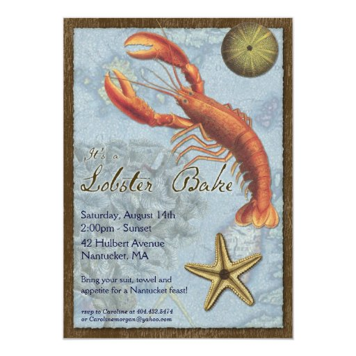 Lobster Bake - Beach Party - At the Shore 5x7 Paper Invitation Card