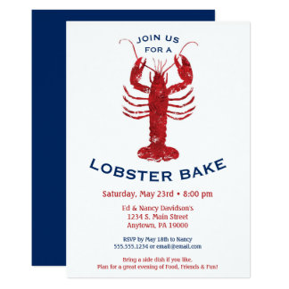 Lobster Bake Boil Invitation Seafood Dinner