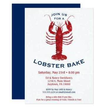 Beach Themed Lobster Bake Boil Invitation Seafood Dinner
