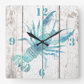 Lobster Beach House Wood Look Wall Clock