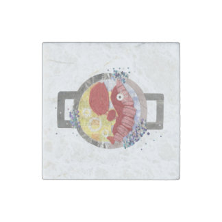 Lobster Beach Marble Magnet