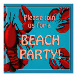 Lobster Beach Party Invitation