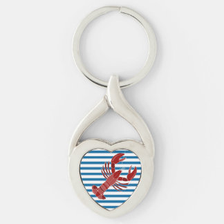 Lobster Blue and White Horizontal Stripe Keychain