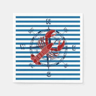 Lobster Blue and White Horizontal Stripe Paper Napkin