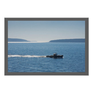 Lobster Boat And Islands Off Mount Desert Island Poster