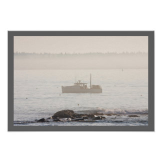 Lobster Boat Off Mount Desert Island Maine Poster