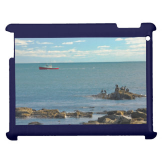 Lobster Boat Working off Rocky Seawall Beach Cover For The iPad