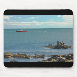 Lobster Boat Working off Rocky Seawall Beach Mouse Pad