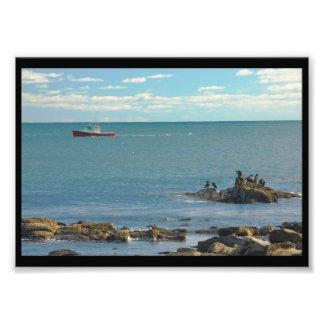 Lobster Boat Working off Rocky Seawall Beach Photo Art