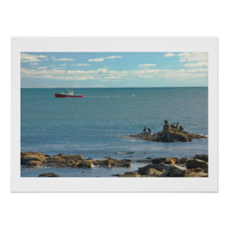 Lobster Boat Working off Rocky Seawall Beach Poster