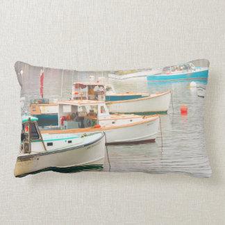 Lobster Boats In Bass Harbor, Mount Desert Island Lumbar Pillow