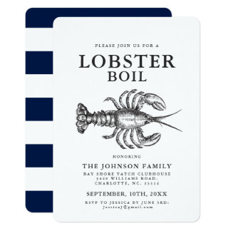 Lobster Boil Vintage Style Crab Invitations