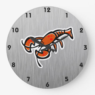 Lobster; Brushed metal-look Large Clock