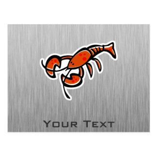 Lobster; Brushed metal-look Postcard