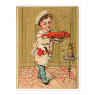 Lobster Chef Vintage Food Ad Art Postcard